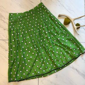 J. CREW-Green Polka Dot Aline Pleated Skirt-Size 2